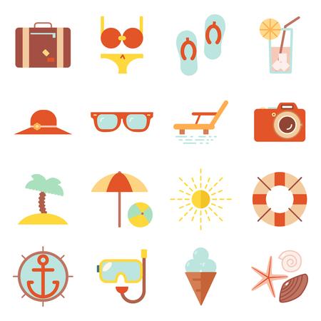 Summer vacation beach resort accessorize symbols icon flat design template illustration Vetores