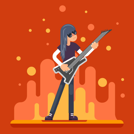 folk music: Electric Guitar Icon Guitarist Hard Rock Heavy Folk Music Background Flat Design Illustration Illustration