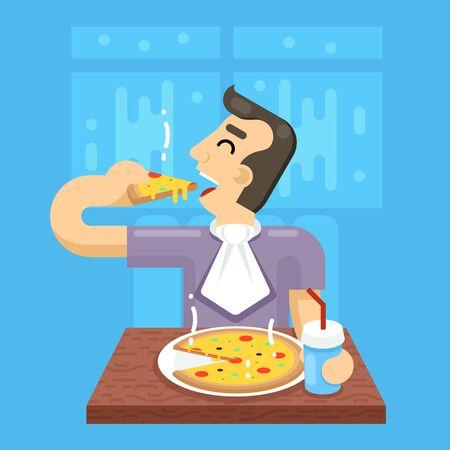 pizza man: Hot Pizza Man Eat Symbol Icon Concept Stylish Background Flat Design Illustration