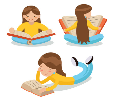 book concept: Young Girl Reading Book Sitting Floor Characters Icon Symbol Stylish Isolated cartoon Design Concept Template Illustration