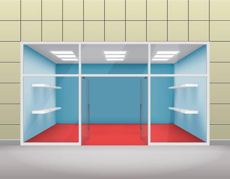 forepart: Empty shop front boutique window open door 3d template illustration