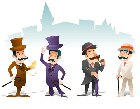 cartoon hat: Business Victorian Gentleman Meeting Cartoon Character Set English Great Britain City Background Retro Vintage Design Illustration
