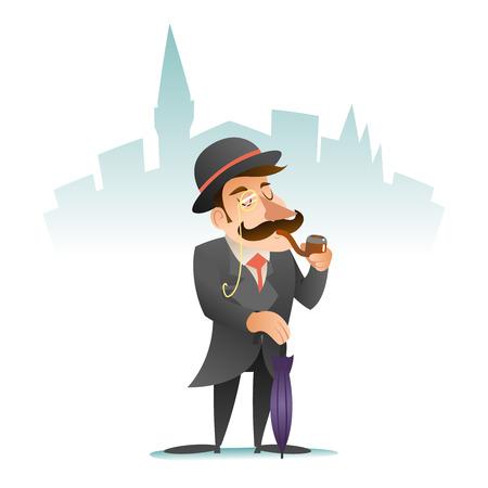 gentlemen: Smoking Victorian Gentleman Umbrella Cartoon Character Icon Stylish English City Background Retro Vintage Great Britain Design Illustration Illustration