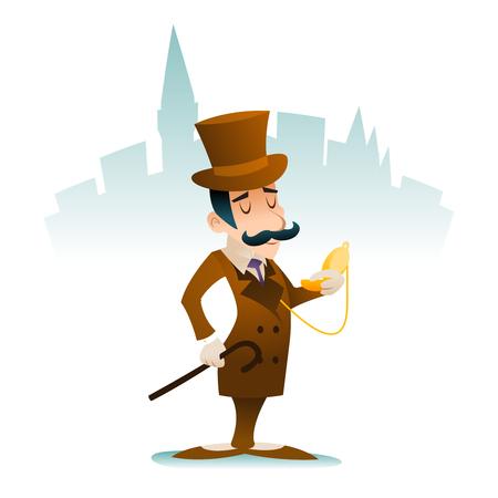 gentlemen: Time Clock Vintage Great Britain Victorian Gentleman Businessman Cartoon Character Icon Stylish Background Retro Design Illustration Illustration
