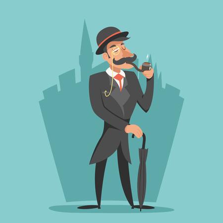 masculin: Fumar caballero victoriano paraguas de dibujos animados Icono de estilo Inglés Fondo de la ciudad retro Gran Bretaña Vintage Diseño Ilustración