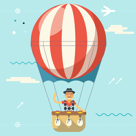 travel icon: Summer Vacation Tourism Journey Travel Lifestyle Concept Planning Symbol Happy Man Geek Hipster Flying Sky Dirigible Balloon Modern Flat Design Icon Template