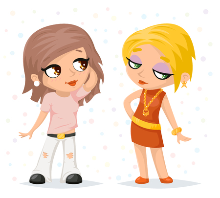 fashionable girl: Stylish Modern Trendy Fashionable Girl Character Icon Stylish Background Cartoon Poster Design Template Illustration