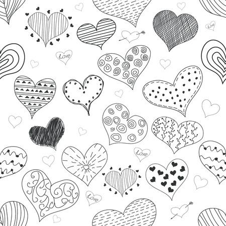 stripes pattern: Seamless Pattern Sketch Romantic Love Hearts Retro Doodles Icons Set Valentine s Day Illustration Illustration