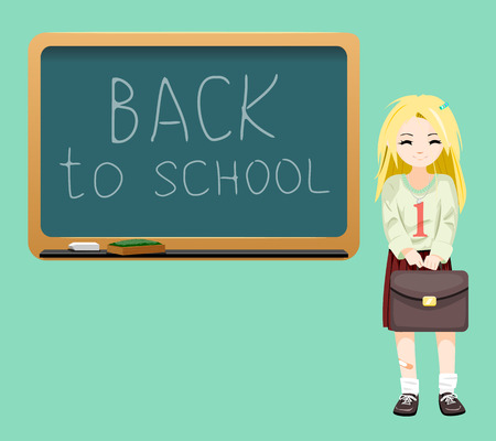 satchel: Back to school board cheerful school girl satchel first September Cartoon Design Illustration Illustration