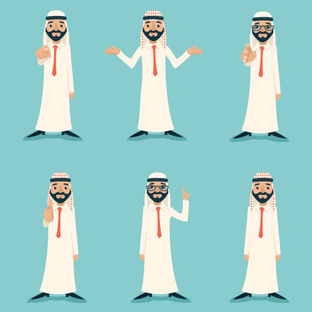 finger pointing up: Finger Pointing Up Businessman Sale Presentation Cartoon Character Arab Traditional National Muslim Clothes White Board Icon Stylish Background Retro Cartoon Design Illustration Illustration