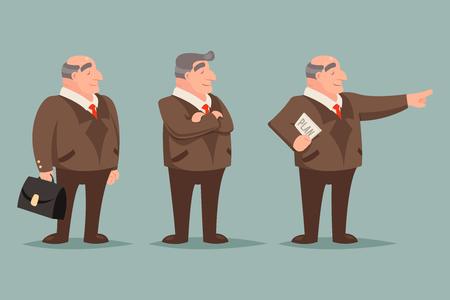 rigorous: Adult Demonstration Businessman Big Boss Character Points Way Prosperity Success Wealth Icons Set Isolated Stylish Background Retro Vintage Art Cartoon Design Illustration