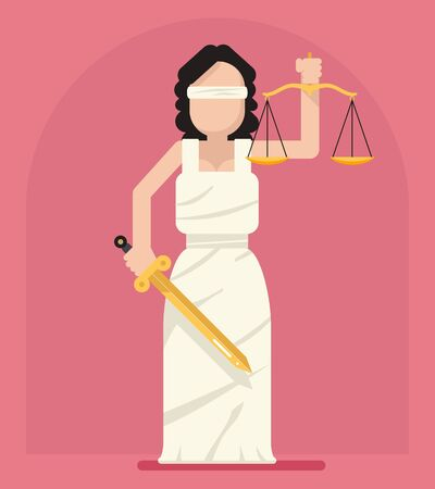 justness: Themis Femida with scales sword symbol of law justice flat icon illustration