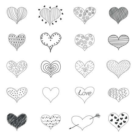 stripes pattern: Sketch Romantic Love Hearts Retro Doodles Icons Valentine Day Isolated Illustration