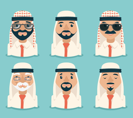 arab adult: Arab Avatars Businessman Young Adult Old Retro Vintage Set Traditional National Muslim Clothes Cartoon Characters Icon Stylish Background Retro Cartoon Design Vector Illustration