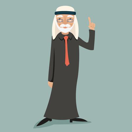 arab adult: Old Adult Wise Vintage Arab Smiling Happy Businessman Character Icon Stylish Background Retro Cartoon Design Vector Illustration