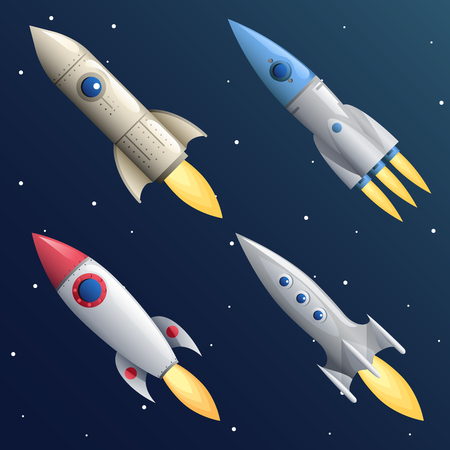 Cartoon Rocket Start Up Launch Symbol Businesses Innovation Development Flat Design Icons Set Template Space Background Vector Illustration Иллюстрация