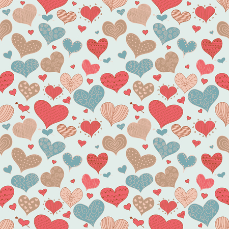 valentine s day: Seamless Pattern Romantic Love Hearts Retro Sketch Doodles Icons Valentine s Day Isolated Vector Illustration