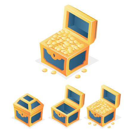 treasure trove: RPG Game Icon Treasure Chest Coins Closed Open Empty Isolated Template Vector Illustration