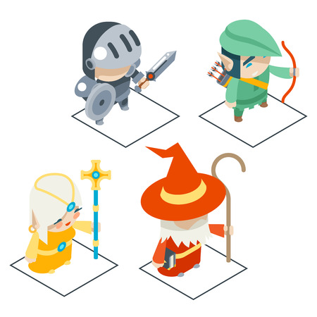 healer: Isometric Fantasy Game Character Vector Icons Set Vector Illustration
