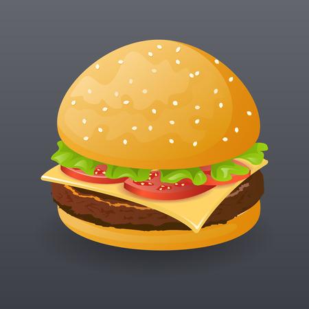 Hamburguesa realista comida rápida Icono de dibujos animados de ilustración símbolo de plantilla de vectores Vectores