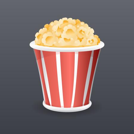 filled: Realistic Popcorn Fast Food Icon Cartoon Symbol Template Vector Illustration