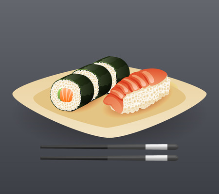plato de comida: Placa realista del rollo de sushi palillos Ilustración rápida del icono del alimento de la historieta símbolo de plantilla de vectores