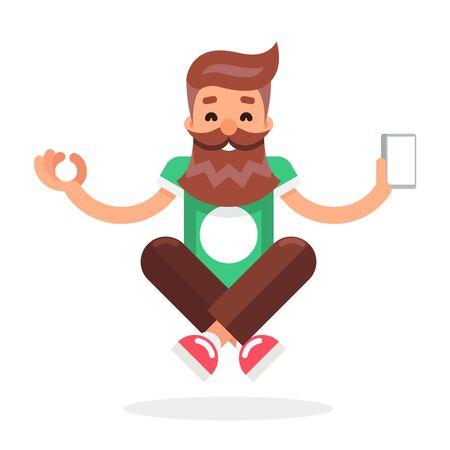 enlightenment: New Smartphone Mobile Technology Enlightenment Hipster Geek Cartoon Symbol Flat Design Template Vector Illustration