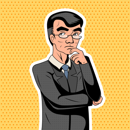 thoughtful: Pop Art Decision Making Thoughtful Genius Smart Adult Businessman Character Icon Stylish Background Retro Vintage Cartoon Poster Design Vector Illustration