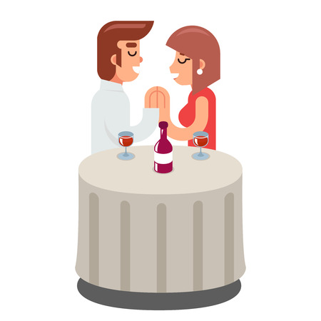 dinner date: Romantic beloved dating man woman food dinner wine Symbol Concept Isolated Flat Design Vector Illustration