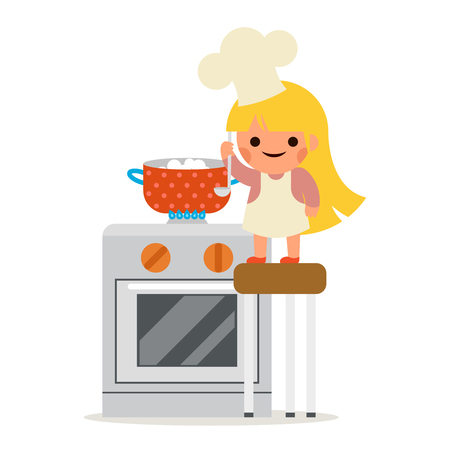 Happy Girl Cook Soup Mother Helper Little Independant Housewife Symbol Smiling Child Concept Isolated Flat Design Vector Illustration Illustration