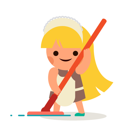 helper: Little Independent Housewife Happy Girl Wash Floor Mother Helper Symbol Smiling Child Icon Isolated Flat Design Vector Illustration
