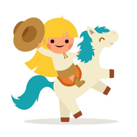 Little Gelukkig Ride Girl Horse Pony cowboy cowgirl Symbol Hat Waving Glimlachend Kind Concept Isolated Flat Design Vector Illustration
