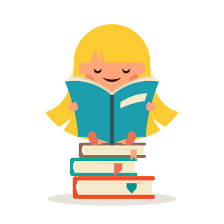 little child: Little Happy Girl Read Fairy Tail Book Education Symbol Smiling Child Learn Concept Isolated Flat Design Vector Illustration