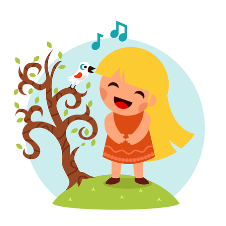 sing: Little Happy Girl Sing Bird Tree Smiling Child Icon Concept Isolated Flat Design Vector Illustration