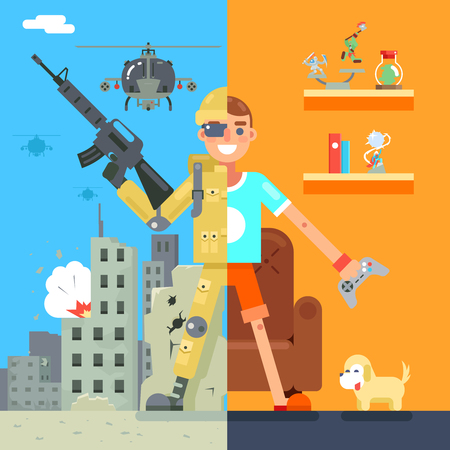 immersion: Gamer Soldier immersion virtual reality Living Room battlefield Flat Design Character Vector Illustration
