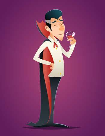 savor: Cartoon Halloween Vampire Gentleman Savor Drink Glass Blood Retro Vintage Cartoon Design Vector Illustration Illustration