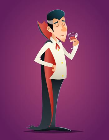 Cartoon Halloween Vampire Gentleman Savor Drink Glass Blood Retro Vintage Cartoon Design Vector Illustration Illustration