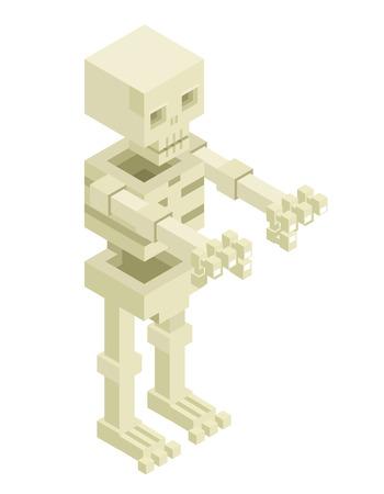 sceleton: Isometric Sceleton Halloween Monster Icon Flat Design Isolated Vector Illustration