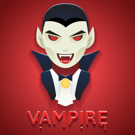 bust: Vampire Avatar Role Character Bust Icon Halloween Party Stylish Background Greeting Template Vector Illustration