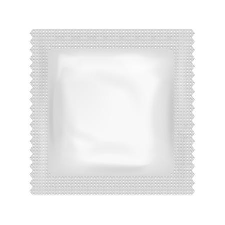 condom: Realistic Condom Food Medicine Flow Pack Isolated Design Template Vector Illustration