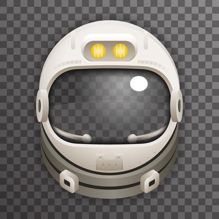Realistische Helmet Cosmonaut Astronaut ruimtevaarder Tantamareska Poster Doorzichtig Glasachtergrond Icon Template Mock Up Ontwerp Vector