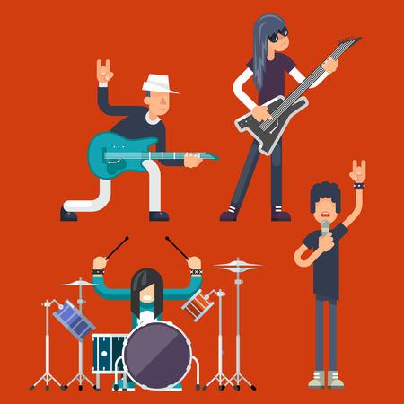 Hard Rock Heavy Folk Group Band Music Icons Guitarist Singer Bassist Drummer Concept Flat Vector Illustration