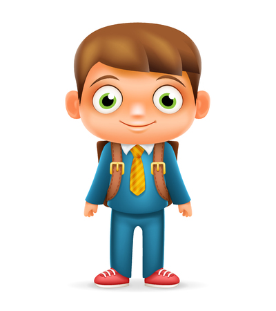 Realistic School Boy Child Cartoon Education Character Icon Design Isolated Vector Illustrator Illustration