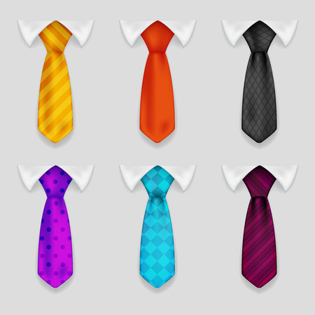 shirt and tie: Shirt tie realistic icons set bacground 3d design vector illustration Illustration