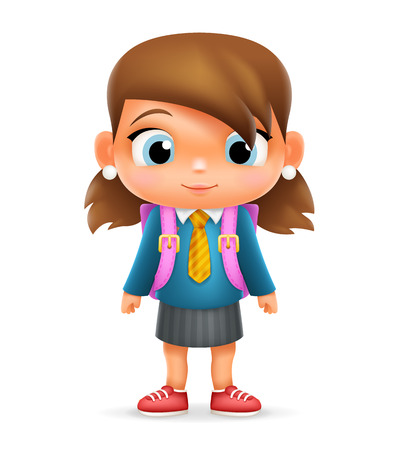 is an illustrator: Realistic School Girl Child Cartoon Education Character Icon Design Isolated Vector Illustrator Illustration