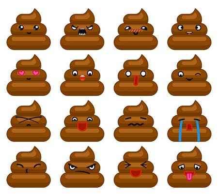 dung: Poops Avatar and Smile Emoticon Icons Set Isolated Flat Design Vector Illustration Illustration