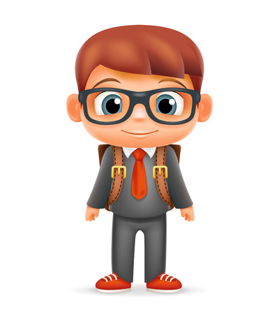 suit tie: School Backpack Boy Suit Tie Child Cartoon Icon Education Character Realistic Design Isolated Vector Illustrator