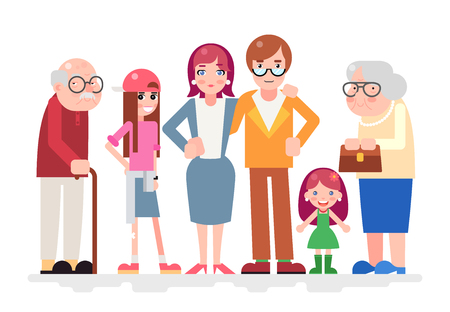 teen love: Happy Family Characters Love Together Child and Teen Adult Old Icon Flat Design Vector Illustration