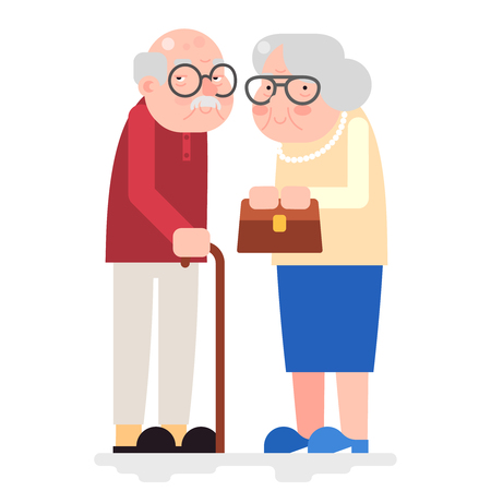 Old Couple Happy Characters Love Together Adult Old Icon Flat Design Vector Illustration Illustration