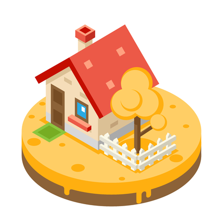 yard sale: Autumn House Building Private Property Tree Icon Real Estate Meadow Background Flat Design Vector Illustration
